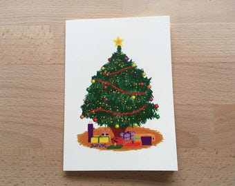 Christmas Tree Card, Blank Card, Illustrated Card, Xmas Tree Card, Christmas Cards, Holiday Card, Christmas Thank You Card, Xmas Cards