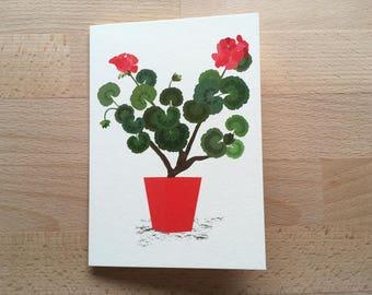 Geranium Card, Floral Birthday Card, Any Occasion, Card for her, Floral Card, Happy Birthday Card, Summer Flowers Card, Geranium Flowers