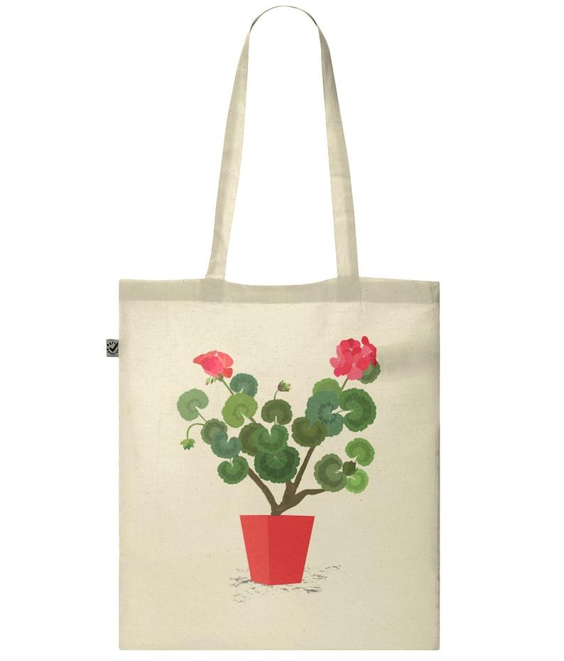 Geranium Flower Lover Tote Bag Art Floral Gift for Her Summer Tote Floral Tote Bag Reusable Bags Tote Bag Botanical Shopping Bag