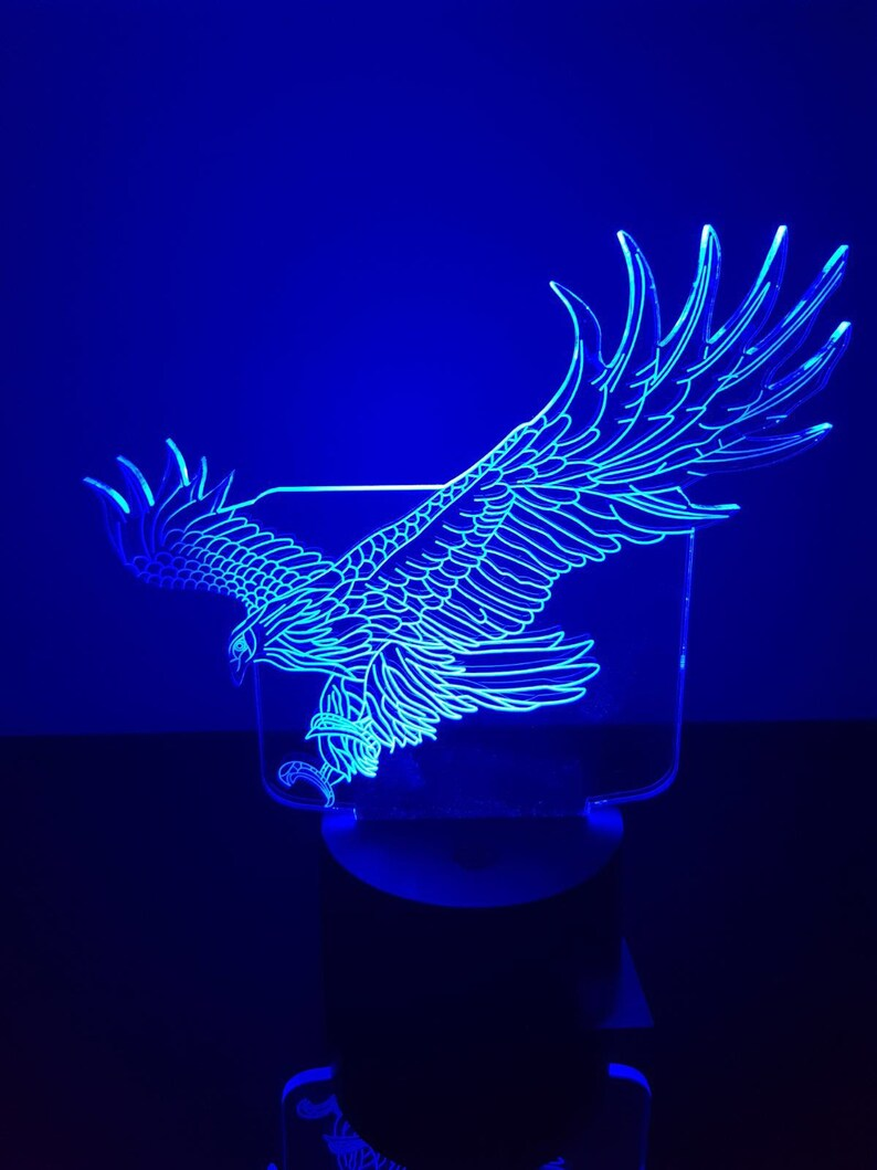 Eagle,Personalized 3D Illusion 15 Colors changing LED Lamps With Remote Controller,Add your name or text