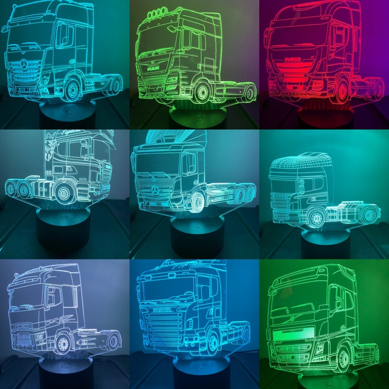 Scania 3 Truck 3D Illusion 7 Colors changing LED Lamp With Remote Controller Handmade,Can be personalised with name or text,message