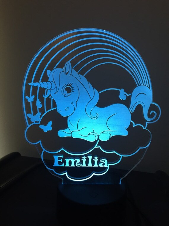 Personalized 7 Colors changing 3D LED Lamp Remote control Can add name or text
