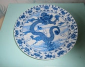 Early 20th Century reproduction Lithographic transfer blue and white display dish with Qianlong Imperial Kiln mark