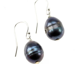 Black Freshwater Pearl and Sterling Silver Drop Earrings