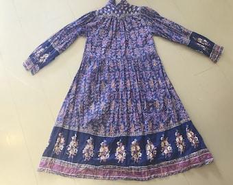 Violet 1970s block-printed Indian cotton smock dress, folk bohemian hippy, women's vintage