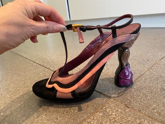 Incredible Sculptural Prada Suede Sandals