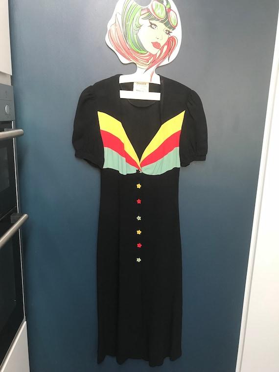 1970s Ossie Clark for Radley moss crepe black dres