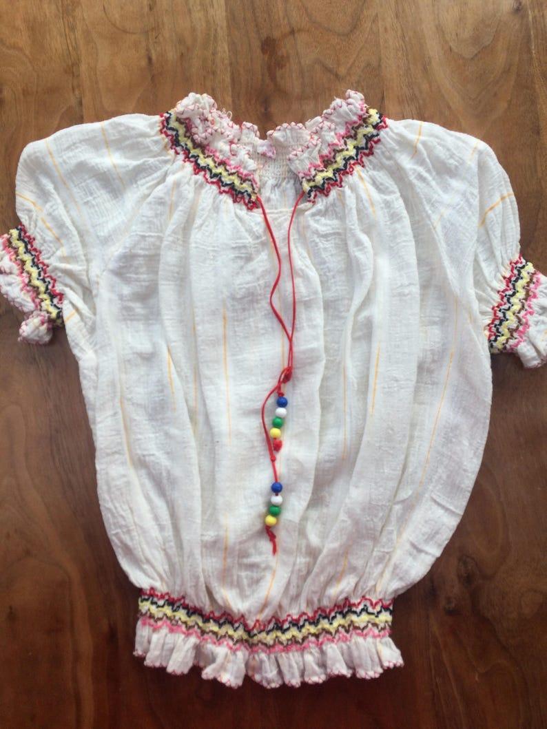 Smock gypsy prairie top 5 - 6 years girls embroidered bead tassels ruched  vintage