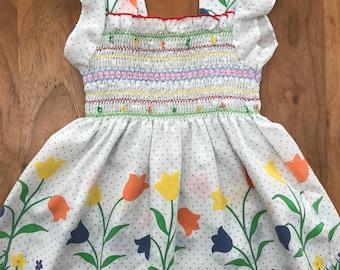 Tulip smock summer top, girls vintage, 3 years, floral frills polka dots