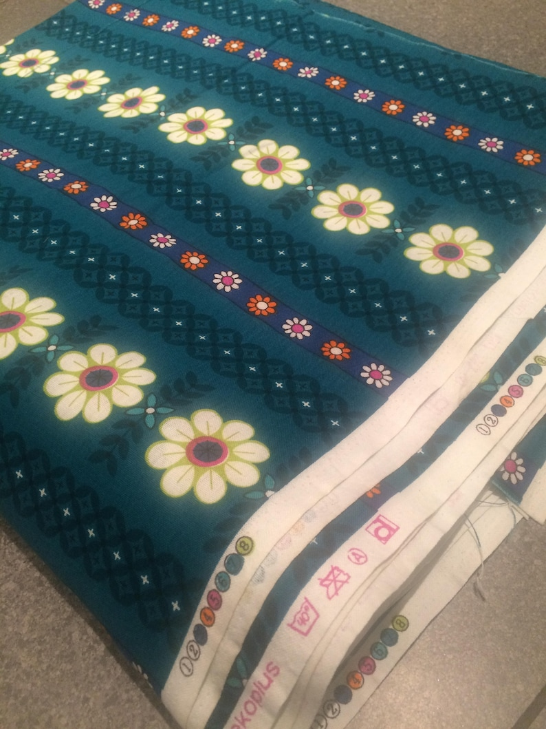 13 metre bolt of unused vintage Dekoplus 1970s green floral print fabric in perfect condition