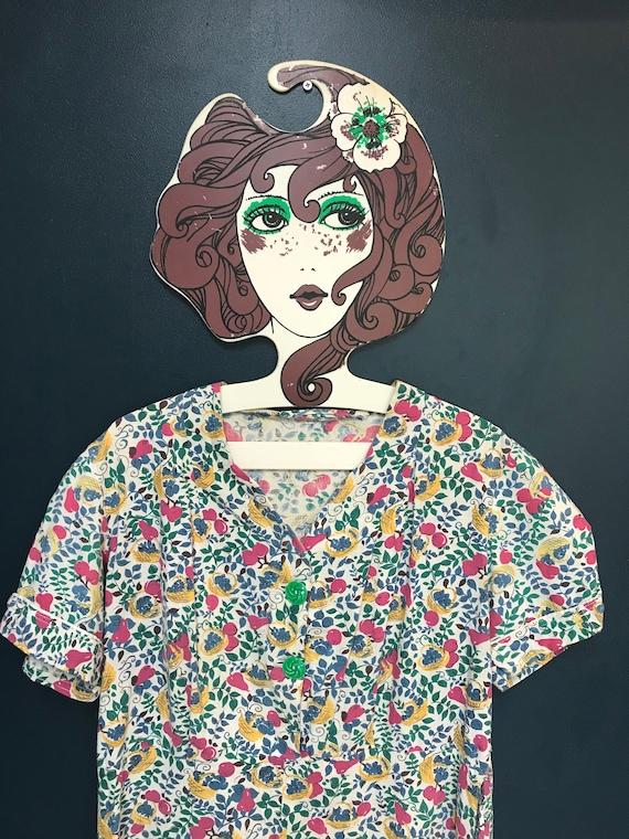 Handmade 1940s fruit print vintage tea dress, uk 1
