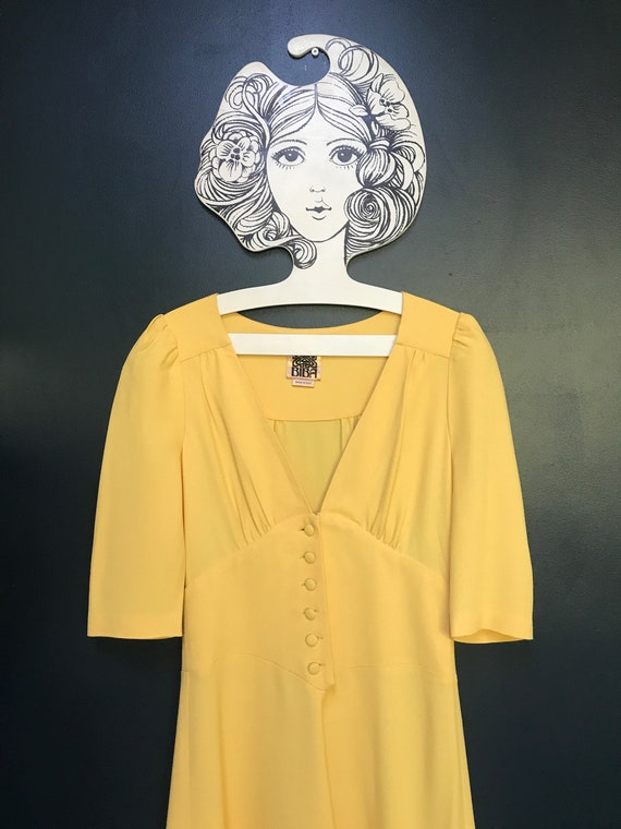 Custard yellow Biba summer dress, 90s remake of th