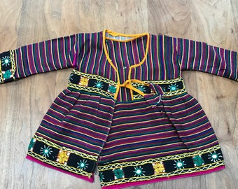 Mirrored embroidered hippy rainbow striped wrap-around top, girls vintage, 18m - 2 years