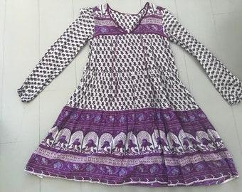 Vintage Indian sheer gauze cotton smock dress, folk bohemian hippy, purple floral print