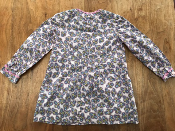 70s violet floral long-sleeved A line dress with p