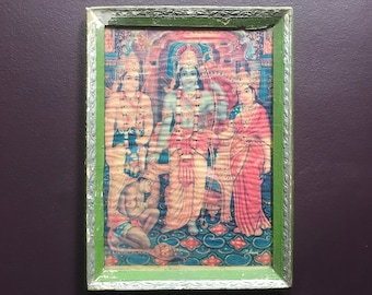 Beautiful vintage Indian Kali print in handmade green and silver frame 28 x 37cm