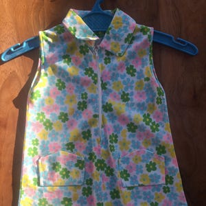 girls 1-2 years vintage 1960s flower power shift tunic in psychedelic floral print with piping trim