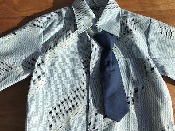 Boys /'office wear/' shirt /& tie set 4-5 years vintage kitsch costume brown cream beige