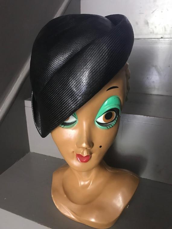 Stunning 1950s Christian Dior classic black casque
