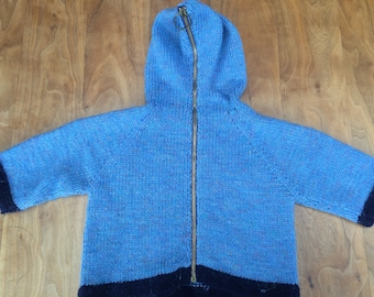 Hand knit children's wool jumper with hood, zips up at the back, 2 - 3 years