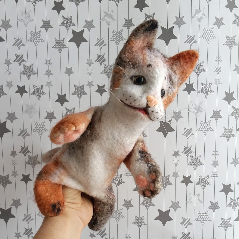 Kids puppet bibabo Marionette kitty Felted kitty Sock puppet cat Cat for muppet show Glove cat doll Handmade tri-color hand puppet cat