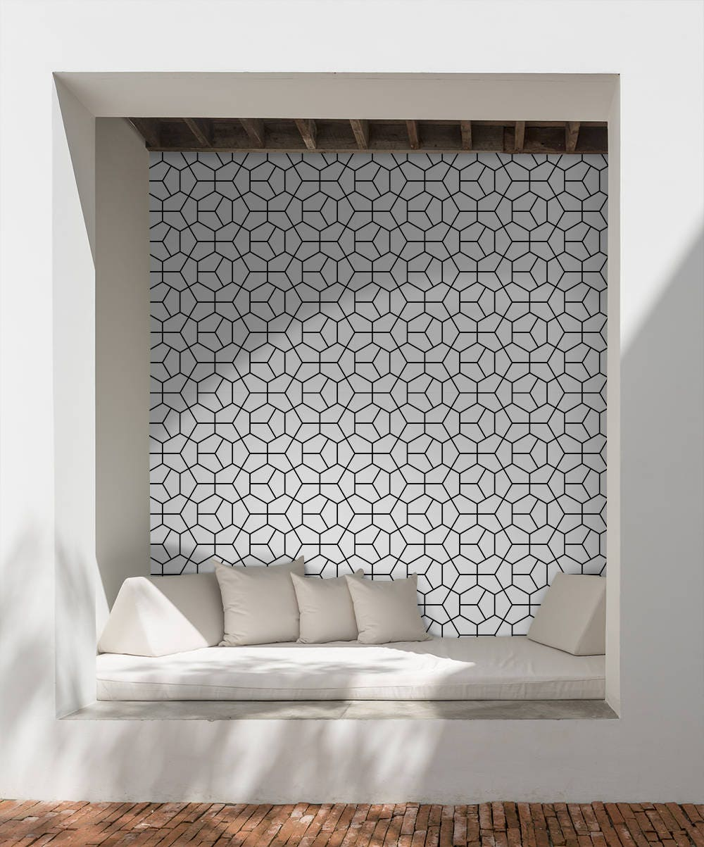 Abstract Shape Removable Wallpaper White Wall Mural