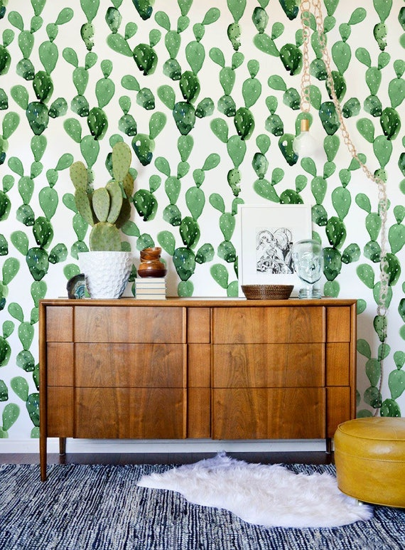 EASY  PEEL /& STICK ! R0018 Cactus Wall Mural Reusable Removable Self Adhesive Fabric Wallpaper Repositionable