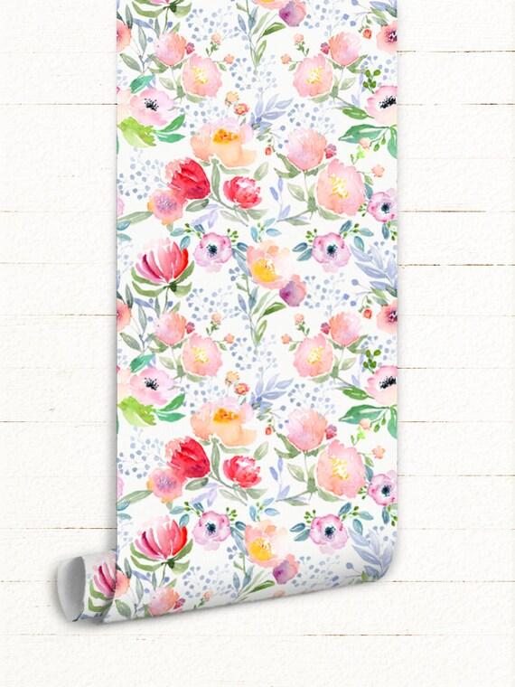 Aquarelle fleurs amovible fond d'écran - rose, bleu, blanc cassé, crème - Schabby Cottage, campagne Chic, Rose, jardin, fleur mural murales #13