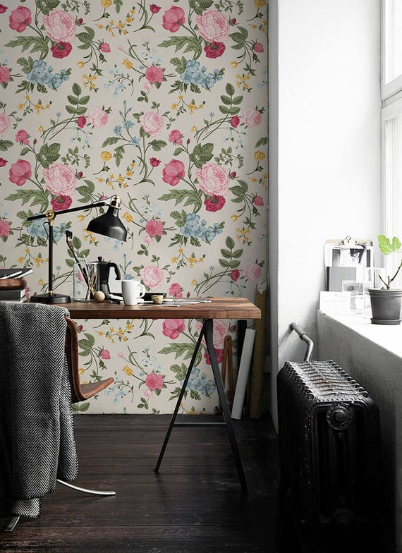 Colorfur Flowers    Removable Wallpaper    Pink Wall Mural | Reusable Wallpaper | Self Adhesive Peel&Stick Wallpaper #85 by Etsy