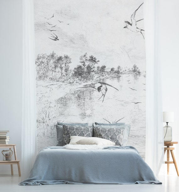 Swallow Landscape Removable Wallpaper Peel And Stick Etsy