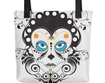 Tote | Candy Skull | |sugar skull | Halloween Tote | Day of the Dead | Skull| Catrina | Artist Tote | | Gift | Best Ideas |