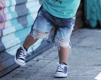 Boys Relaxed Fit Distressed Denim Shorts