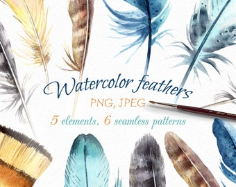 Feathers Clip Art, Bird Feathers Watercolor Sticker, Feathers Digital Paper, Feathers Patterns.