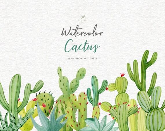 Hand Painted Botanical Clipa Art Planner Stiker Cute Plant Clipart Watercolor Cactus Clipart Set Instant Download