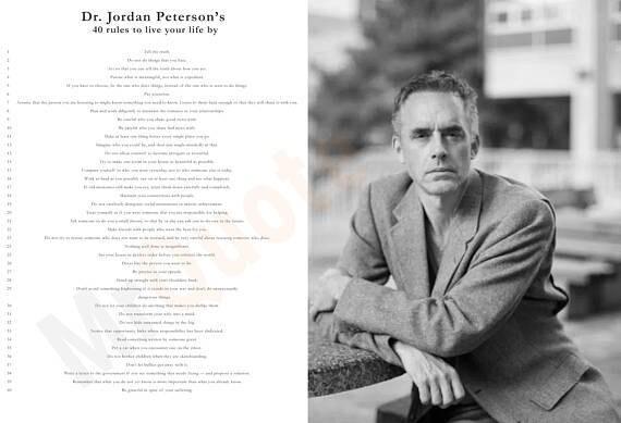 autentyczna jakość nowy styl życia ponadczasowy design Jordan Peterson, Digital Download, 40 Rules to live by, Sort yourself Out,  Self Authoring, Instant Print, Inspirational, Genius, Quote