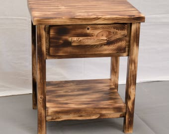 reclaimed wood nightstand. Torched Farmhouse Nightstand / Wood Reclaimed Modern Urban Cottage