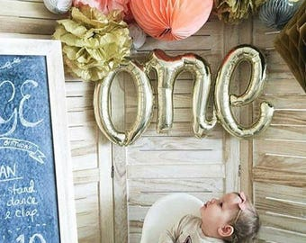 ONE Script Balloon Gold First Birthday Cake Smash Photo Prop Banner White 1st Letter Rose