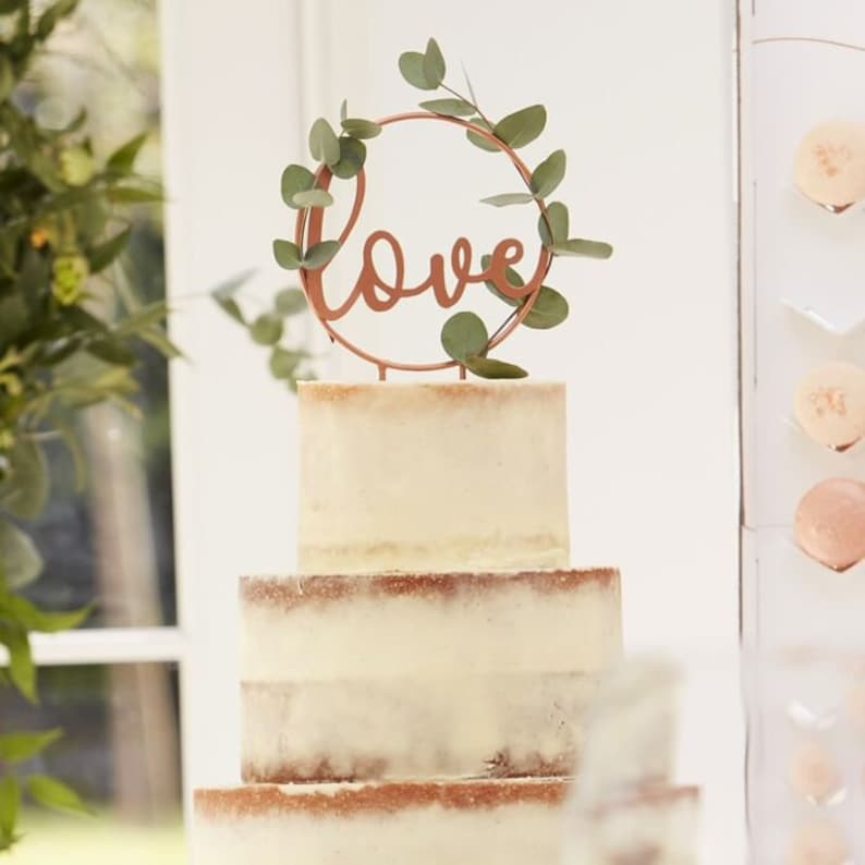 Rose Gold Wedding Cake topper Party Love Engaged Baker Decor Botanical Wedding Boho Rustic Industrial