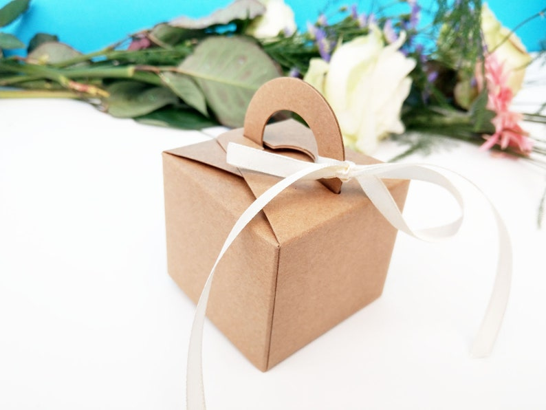 Cream Ribbon Rustic Wedding boxes Bridal sweets favors Bride To Be Kraft Favor Boxes DIY favors Wedding Favors Engaged
