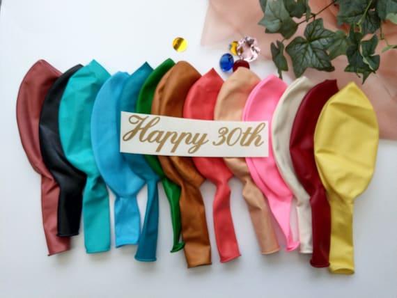happy 30th balloon vinyl name custom balloons birthday etsy