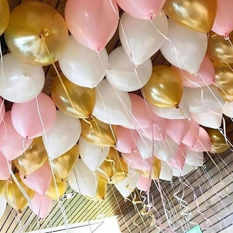 Ceiling Balloons Blush Pink 11 Latex White