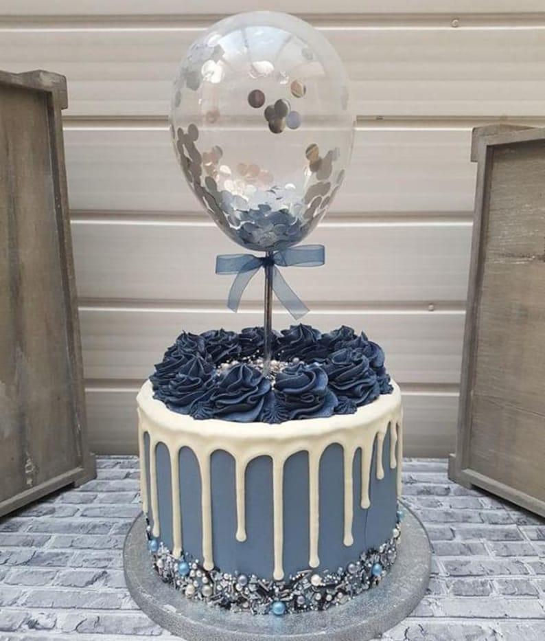 Balloon Cake Topper Confetti 5 Party Birthday Wedding Hen Baby Shower Engaged Baker Cake Decor One Smash Ribbon Rose Gold Heart Confetti