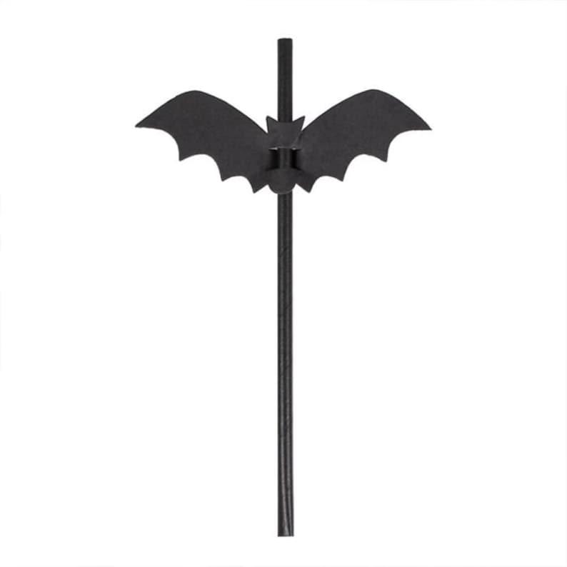 DIY kit Black Straws Halloween Straws Kids Party Decorations Bat Straws
