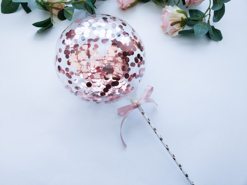 Balloon Cake Topper Confetti 9 Bubble Balloon Baby Pink Rose Gold Confetti Personalized Custom Name Happy Birthday Wedding One