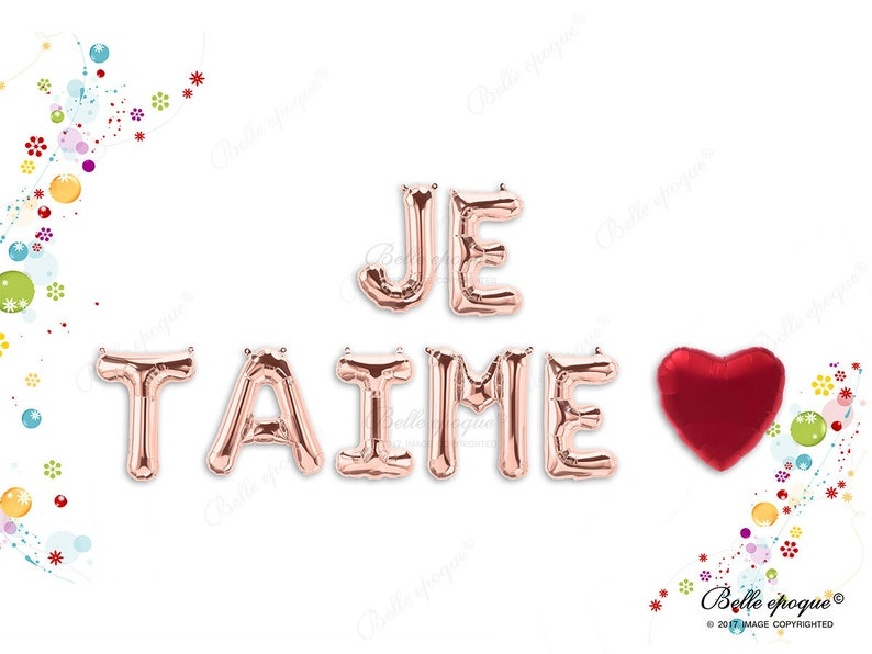 Custom Letters Heart Balloon Valentines JE TAIME Rose Gold Balloons Party Balloons Engaged Gold Silver Letters 16 Engagement