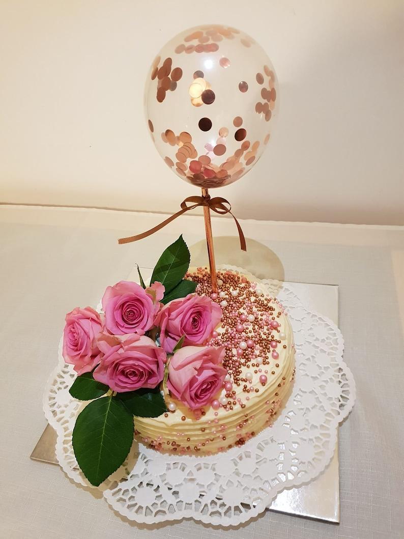 Balloon Cake Topper Confetti 5 Party Birthday Wedding Hen Baby Engaged Baker Sprinkles Decor Gatsby Straws Ribbon Lime Green Yellow Blue