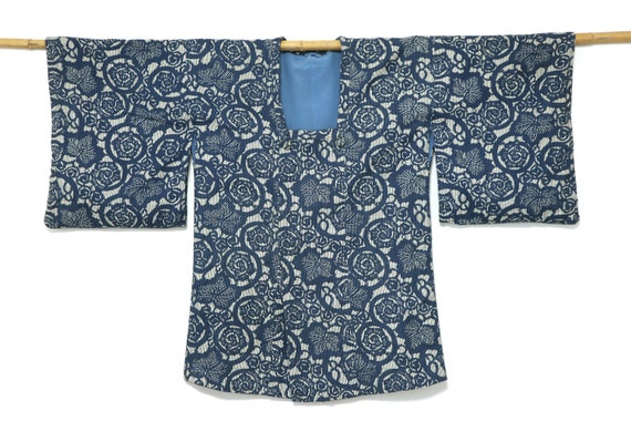 KATAZOME SASHIKO KIMONO Michiyuki coat Japanese Vi