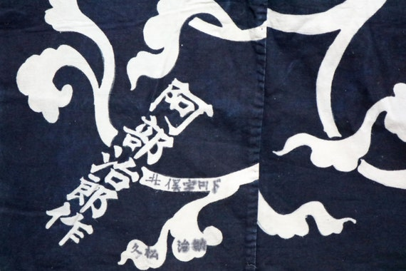 Tissu INDIGO Vintage japonais indigo écriture tissu Tsutsugaki 133x138cm FUROSHIKI famille < livraison gratuite > famille FUROSHIKI crête katazome boro 9a6c2e