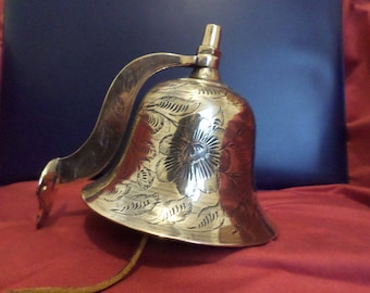 Vintage Wall Mount Ornately Designed Solid Brass Bell //  Bells of Sarna India with Leather Strap