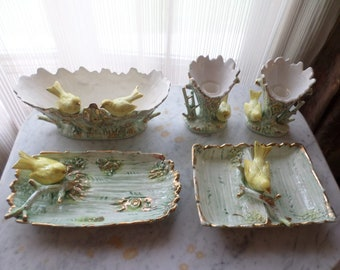 Vintage Ucagco Ceramics Japan Yellow Canary on Hand Painted Plate, Bowl, Candle Holder, Divided Dish with Gold Painted Details